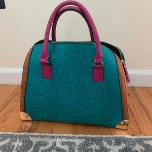 Gorgeous faux snakeskin colorblock tote